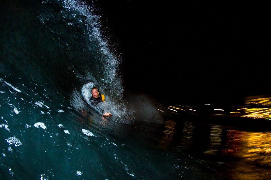 Tim getting a night barrel with his Tech 2's, shoty by Nathan Richards (also wearing tech 2's)