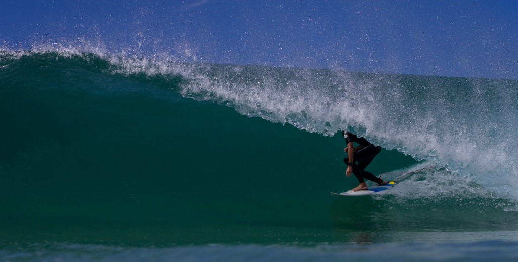 Tracking barrel speed at The Entrance. Photo: Nathan Richards